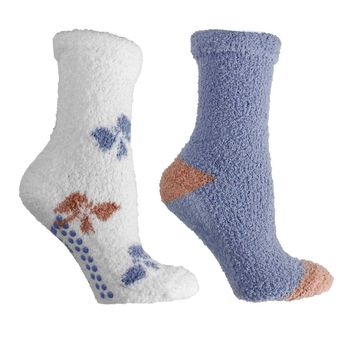 2 Pair Fluffy Chenille Socks-Lavender Infused- Bow