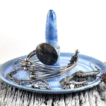 Ring Holder Speckled Light Blue - Ceramic Dish - Handmade Pottery - Jewelry Storage -  by Dawn Whitehand