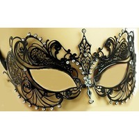 Luxury Mask Women's Laser Cut Metal Venetian Pretty Masquerade Mask, Black/Clear Stones, One Size