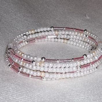 White Glass Pearl & Pale Pink Glass Bugle Beaded Wedding Prom Formal Artisan Crafted Wrap Bracelet