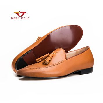 Men shoes Brown colors men genuine leather shoes with leather tassel men handmade smoking slippers wedding and party men loafers