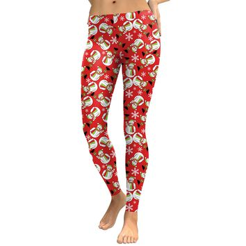 Snowman Colorful Print Women Mid Waist Christmas Party Leggings Pants