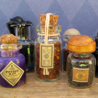 Harry Potter Glass Jar of Scarab Beetle Mixture in dollhouse miniature by LittleWooStudio