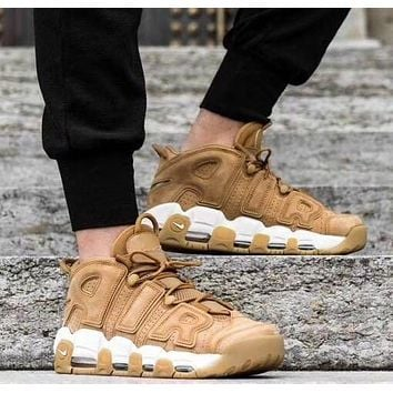 Original NIKE AIR MORE UPTEMPO '96 PREMIUM - FLAX Yellow