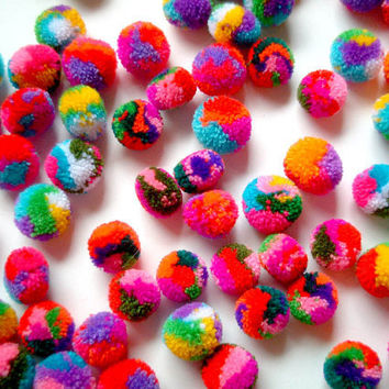 Mini Yarn Pom Poms, miniature, party pom, pompom, colorful, kid, children, multi color, bead, iammie, tiny, 100 pom poms, tiny, handmade
