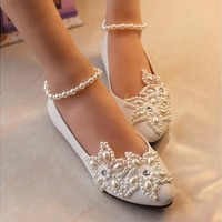Flat Sweet Pearl Ankle Chain Pearl Flower White Princess Birdal Wedding Party Shoes [7981854471]