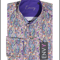 Envy Men's Long Sleeve Button Down Paisley Dress Shirt Lavender