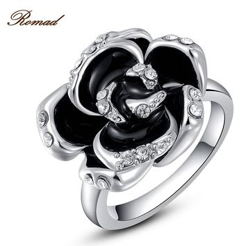 New Romad Jewelry Black Crystal Ring Rhinestone Rose Flower Rings For Women Romantic Vintage Ring