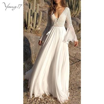 Young17 Women Bohemian White Dress Flare Sleeve Deep V Neck High Waist Draped Tassel Hollow Out Patchwork Lace Up Maxi Dress