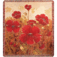 Garden Red Poppies Wall Tapestry Afghans
