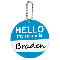 Braden Hello My Name Is Round ID Card Luggage Tag