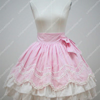 Pink Cotton Lace Trim Multilayer Flouncing Sweet Lolita Skirt