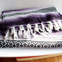 Vintage Purple Falsa Serape Woven Beach Blanket