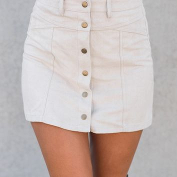Destiny Suede Skirt (Stone)