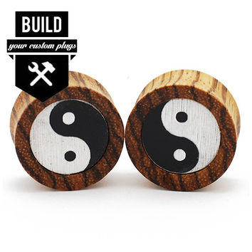 Build Your Zebrawood Yin Yang Plugs (9.5mm-51mm)