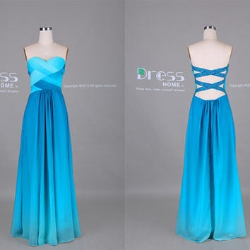 Unique Ombre Blue Sweetheart Beading Open Back Long Prom Dress/Wedding Party Dress/Bridesmaid Dress/Sexy Evening Dress/Prom Dresses DH373