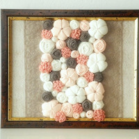 Fabric flower wall art 3D design Framed home decor Peach beige white brown OOAK ready to ship
