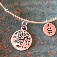 Tree of Life Initial Charm Bangle Bracelet Alex and Ani Inspired Expandable Stackable Adult or Kid's Size