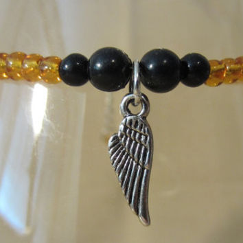 Amber Glass Beaded Anklet w/ Silver Wing Charm, Handmade, Country Charm, Beach, Christian, Ladies Gift, Fashion Jewelry, Modern Style, Angel