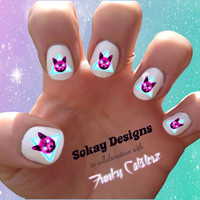 Laser Cat Nail Art - Sokay Designs x Funky Catsterz