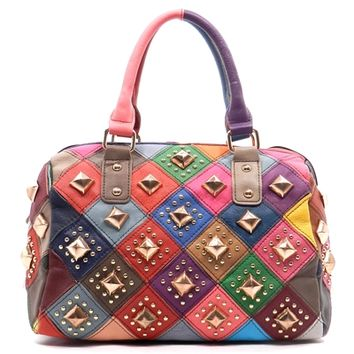 HauteChicWebstore Women's Genuine Leather Studded Patchwork Boston Bag- www.shophcw.com
