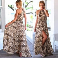 Women Chiffon Summer Boho Long Maxi Evening Party sun Beach Dress = 4776026692