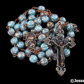 Catholic Rosary Beads Turquoise Blue Fluted Melon Accent Coloring Copper Traditional Rustic Glass Bead Five Decade Catholic Gift