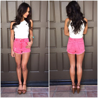 Rockets Red Flare High Waist Shorts