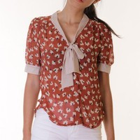 RUST FLORAL CONTRAST BOW TIE BLOUSE @ KiwiLook fashion