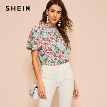 SHEIN Boho Floral Print Butterfly Sleeve Top Blouse Women Summer Stand Collar Butterfly Sleeve Arabian Elegant Tops and Blouses