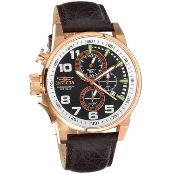 Invicta 13056 Men's I-Force Lefty Black Dial Chronograph Rose Gold Steel Watch