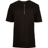 River Island MensBlack longer length zip front t-shirt