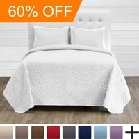 Premium Diamond Stitched 3 Piece Coverlet Set - Ultra-Soft Luxurious Lightweight All Season Bedspread (Full/Queen, White) - Walmart.com
