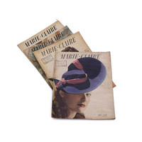 1940s Marie Claire Magazines. Vintage French Fashion Magazines from the 1930s and 1940s. Art Deco Fashion Revues.