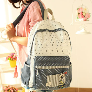 Pretty School Anchor Dot Pattern Backpacks