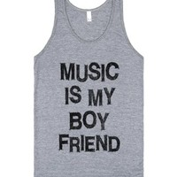 Music Is My Boyfriend-Unisex Athletic Grey Tank