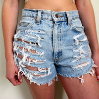 Shredded Shorts High Waist Waisted Denim Blue Jean Levis Summer Size 3 4 27 28 Wrangler