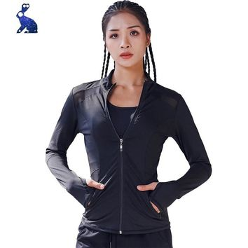 Womens Quick Dry Sport Jacket Stylish Solid Color Long Sleev Zipper  Ladies Gym Fitness Running Jogging Yoga  Zip-up Sports Coat