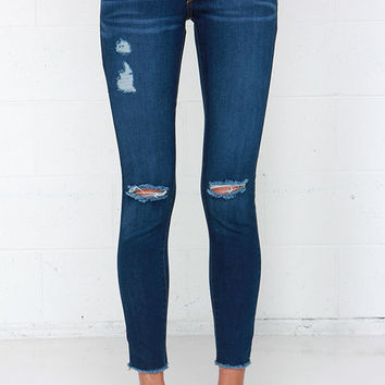 Stand in the Stirrups Medium Wash Distressed Ankle Skinny Jeans