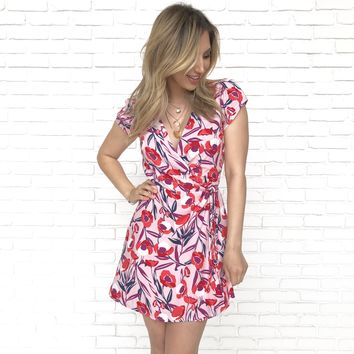Floral Perspective Wrap Dress