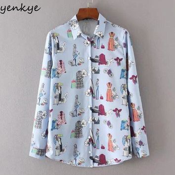Women Fashion Cartoon Characters Printed Blouse Shirt Long Sleeve Lapel Casual Autumn Blouses Street Wear Chemise