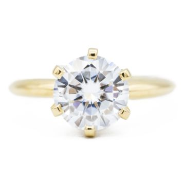 Round Moissanite 14K or 18K  Yellow Gold 6 Prongs Royal Crown Setting Solitaire Ring