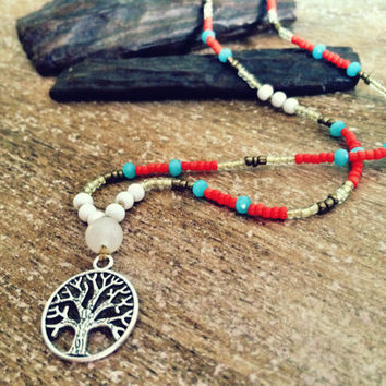 Tree of life Hippie necklace, boho pendant