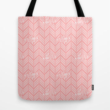 Coral Pink Chevron Floral Tote Bag by BeautifulHomes