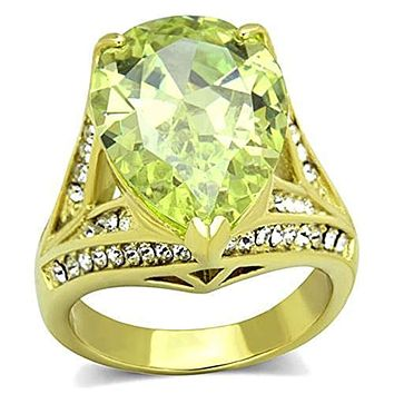 WildKlass Stainless Steel Ring IP Gold(Ion Plating) Women AAA Grade CZ Apple Green Color