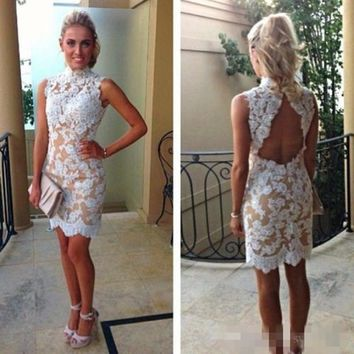 Lace Cocktail Dresses 2015 High Collar White Lace Champagne Short Party Backless Homecoming Dresses