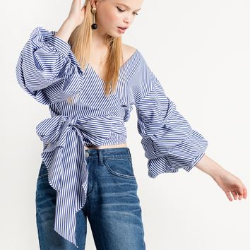 Lola Striped Balloon Wrap Tie Top