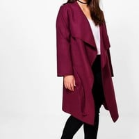 Plus Rosie Wool Look Wrap Front Coat | Boohoo