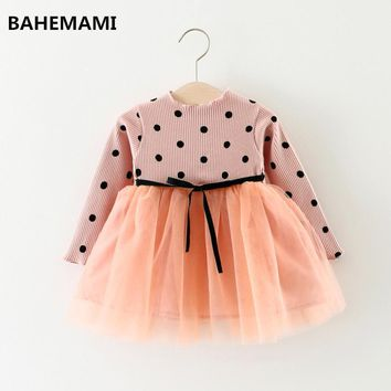 Girls Princess Baby Dress Newborn Infant Baby Girl Clothes Bow Dot Tutu Ball Gown Party Dresses Baby Kid Girl clothes