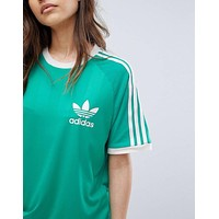 adidas Originals Green Three stripe Boyfriend T-shirt